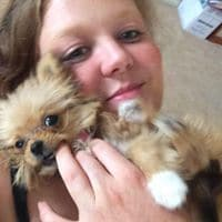 This is me with my puppy Roxy. She is a chihuahua