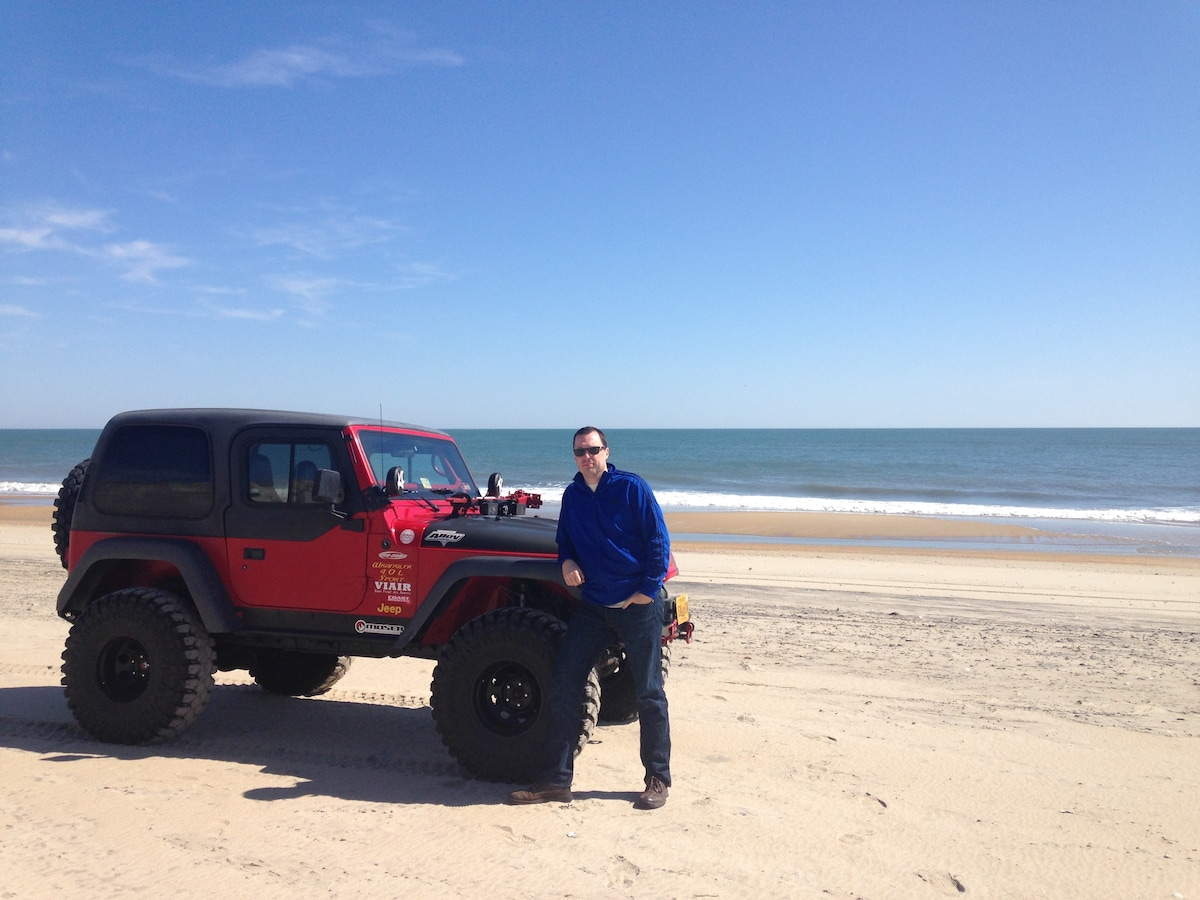 Love Virginia Beach, playing guitar, my Jeep, and