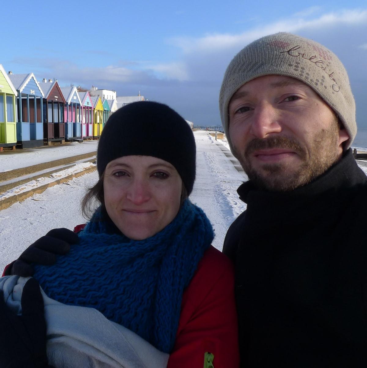 British-French couple living and working around Mo