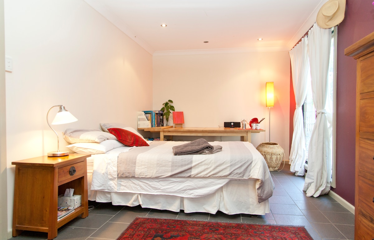 Your accommodation, fresh sheets and towels. Spacious and cool.