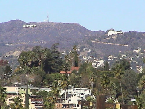 View from front porch, zoomed in - Hollywood sign & Observatory