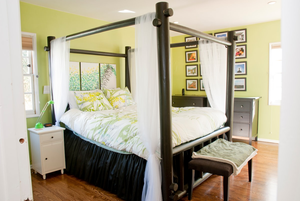 The Earth Room is named for the cool green feel and the light bed.