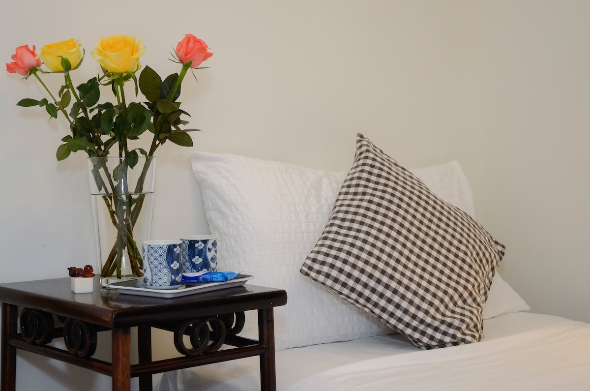 Starting in August; we will have a large Double bed.  NO single beds.