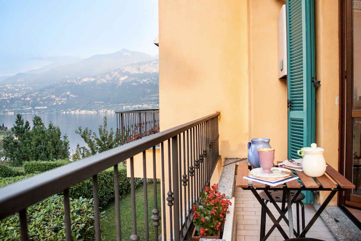 The balcony and the breakfast/teatime spot