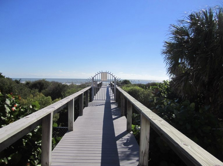 A private beach access takes you to a lovely stretch of Cocoa Beach.
