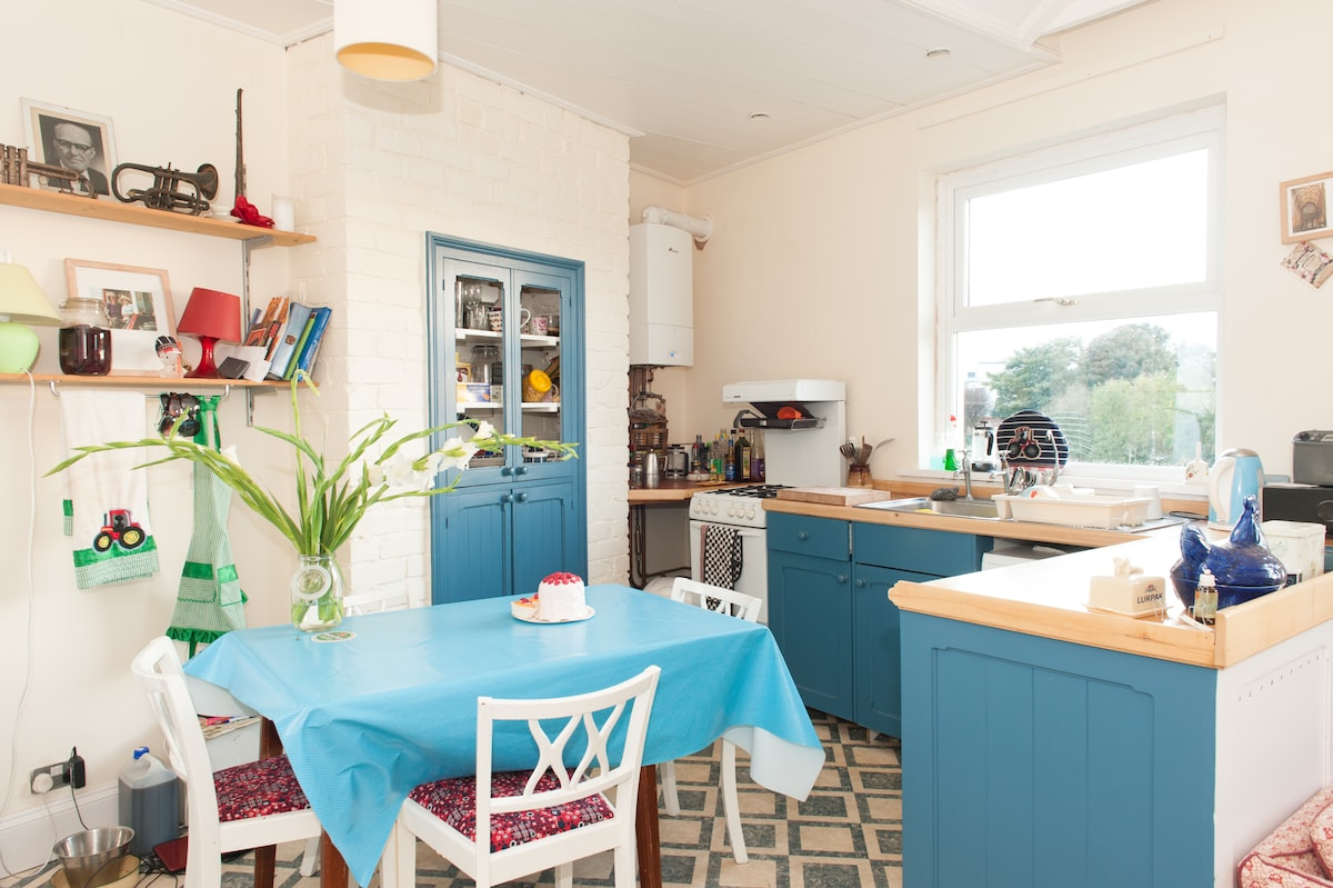 open plan kitchen with tractor motif