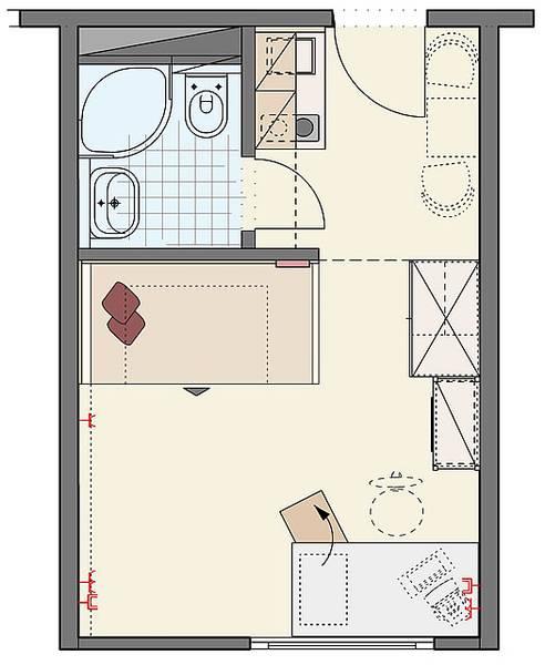 1-Room-Apartment best Stadium visit