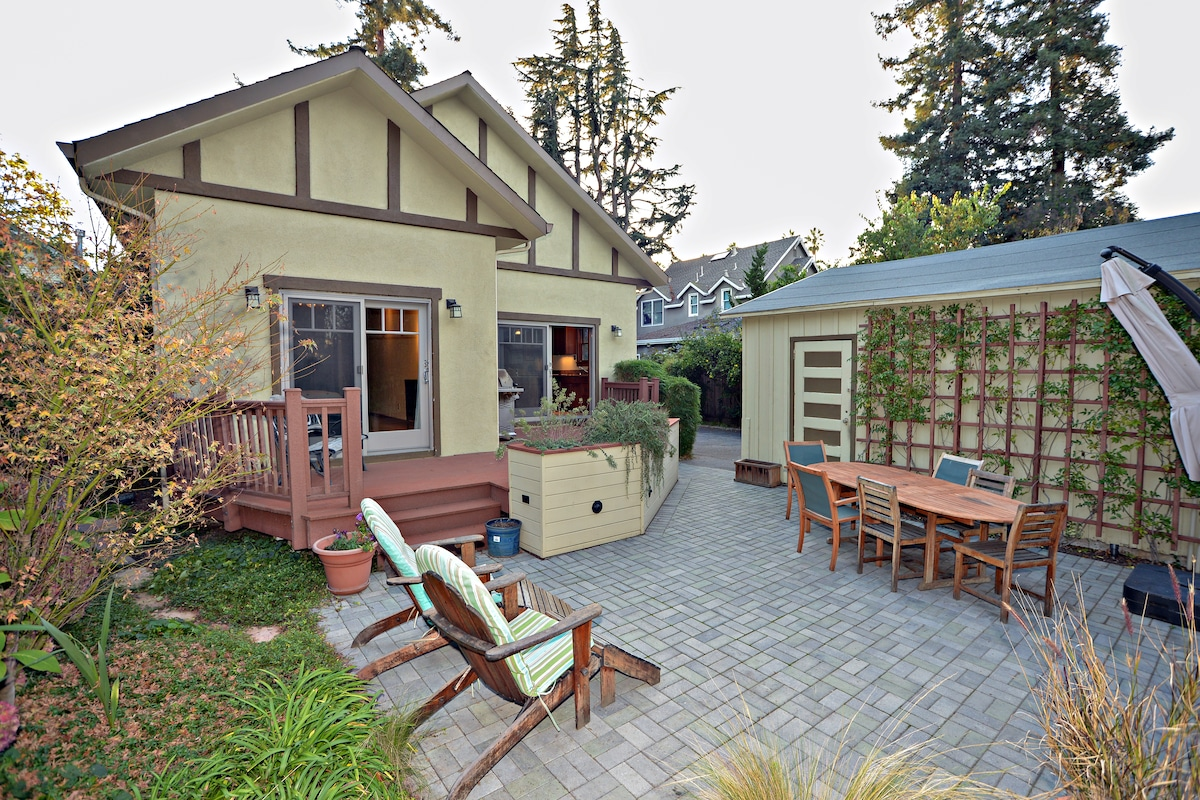 Spacious Backyard Patio and Deck with secluded Hot Tub