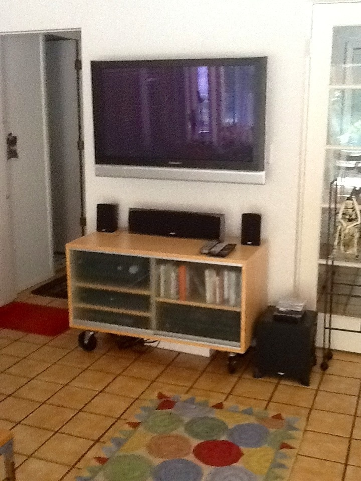 Large flat screen tv and DVD player