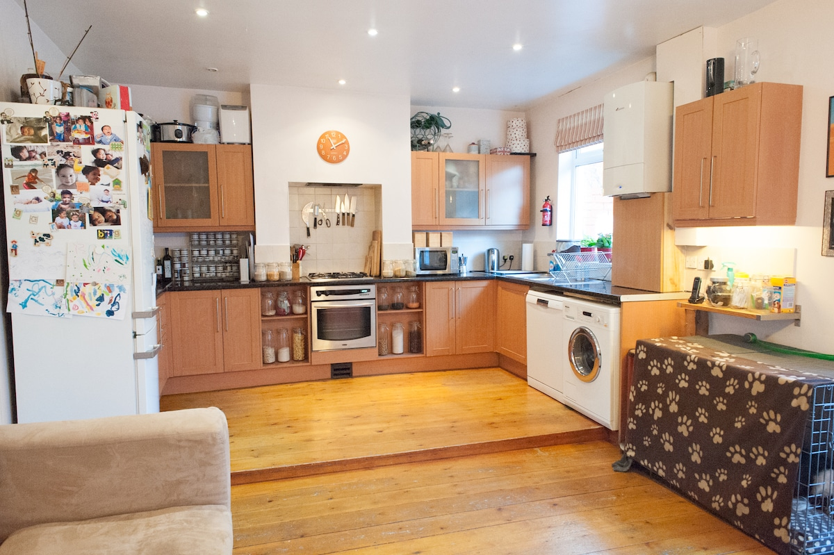 kitchen - with a cupboard full of breakfast goodies for guests