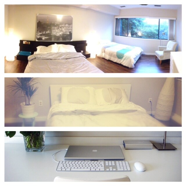 Extra large bedroom with 1 queen bed + 1 double bed  the queen room with 1 queen bed.