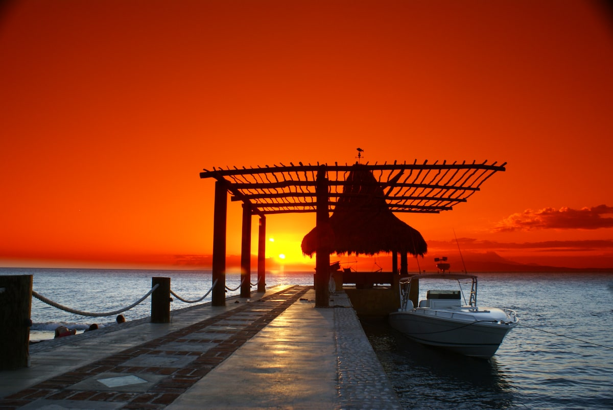 True east facing private dock with Palapa providing the most amazing sunsets in the world!!!.