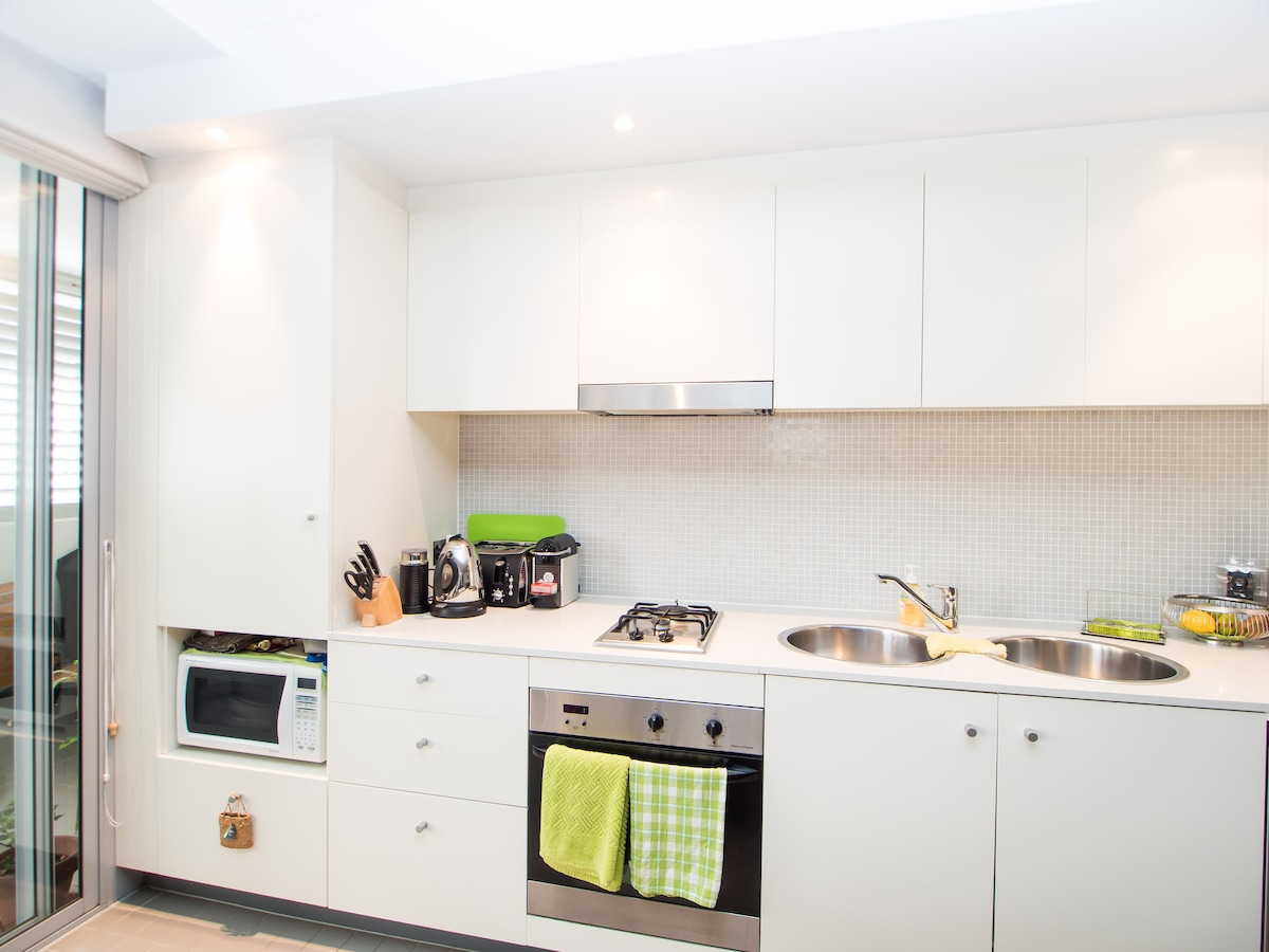 galley kitchen with everything