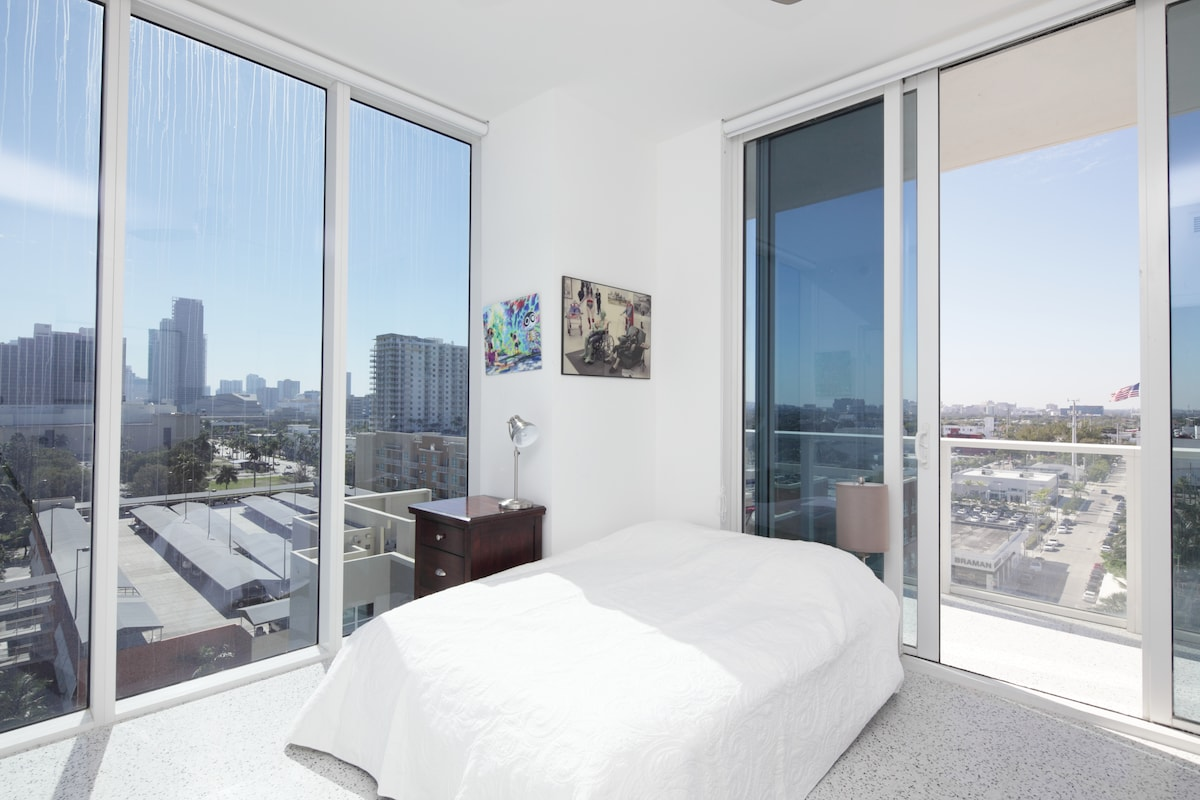 Actual Bedroom offered. 10 foot ceilings/windows to the south and west, Private Balcony. Queen size bed (no headboard to preserve 'airy' feel of room), Nightstand, Desk, TV, Fan, Blackouts on all windows, roomy closet);