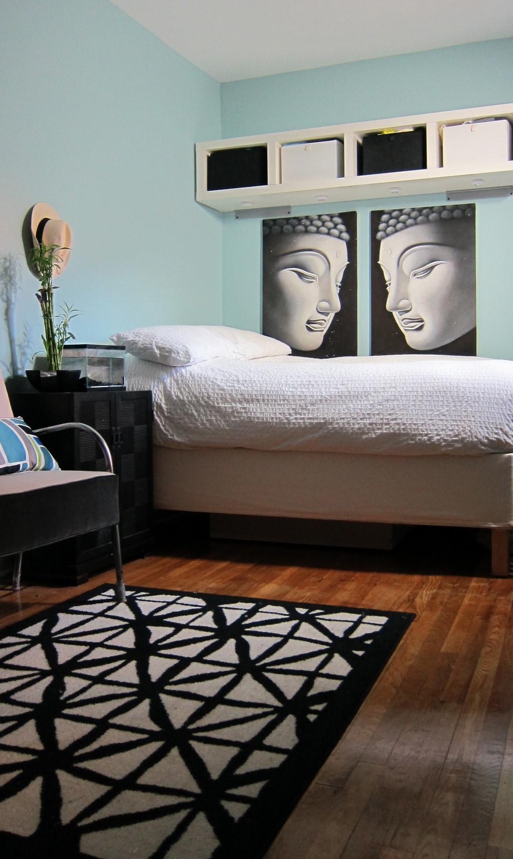 Zen living space. Full size bed, in bedroom living area.