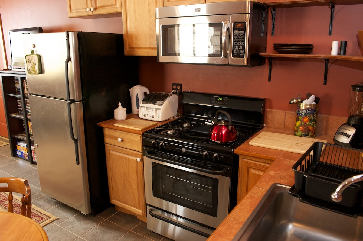 The Adobe has a full kitchen to give  you options for your own cooking and refreshments.