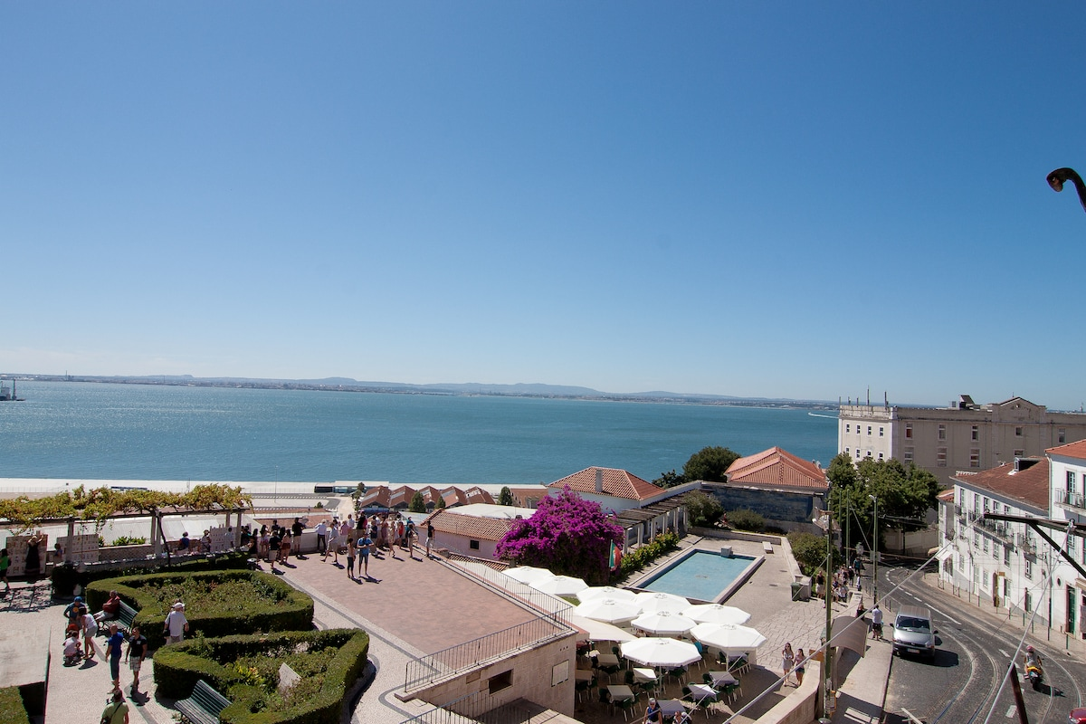 View from the apartment: Miradouro Santa Luzia, Alfama, Tejo