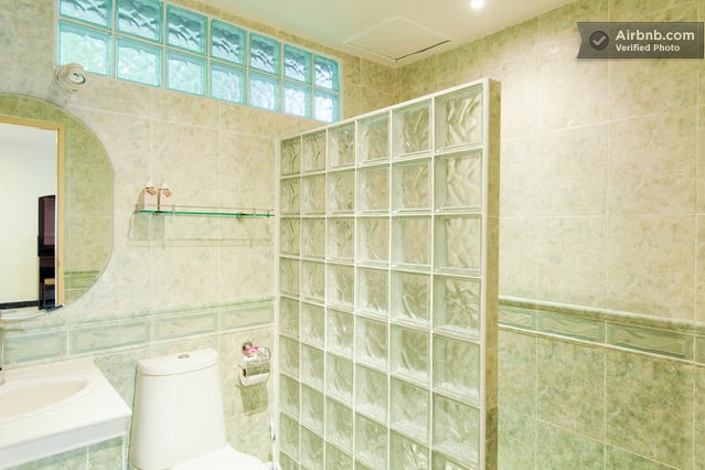 The shower and toilet are spacious by Thai standards, and separated as in the picture.