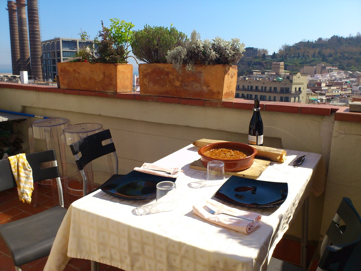 South views of the apartment, Terrace. Imagine yourself enjoying a meal there!