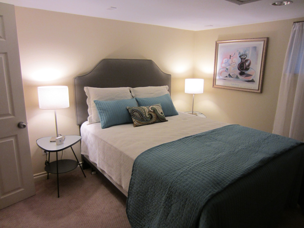 Sleep well in this brand new bed-- with all new bedding, too!