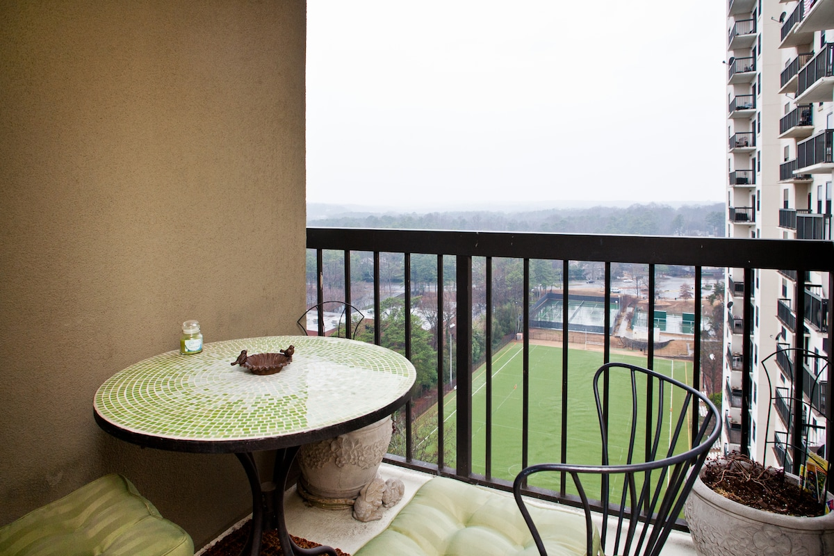 Balcony and Breathtaking Views of soccer field and city in the distance, perfect for that cup of morning coffee or that evening  glass of wine.