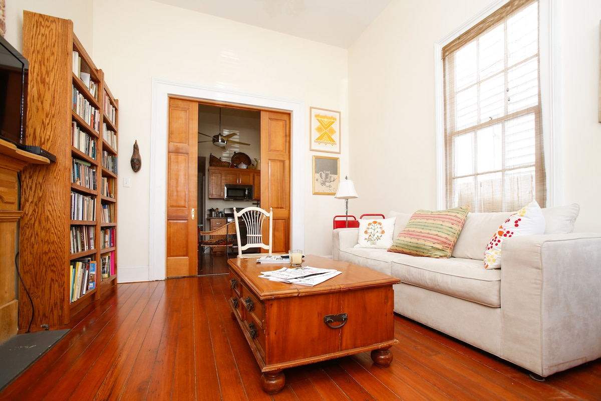 Tall pocket doors separate the living-room from the kitchen. The couch is a queen pull-out sleeper.