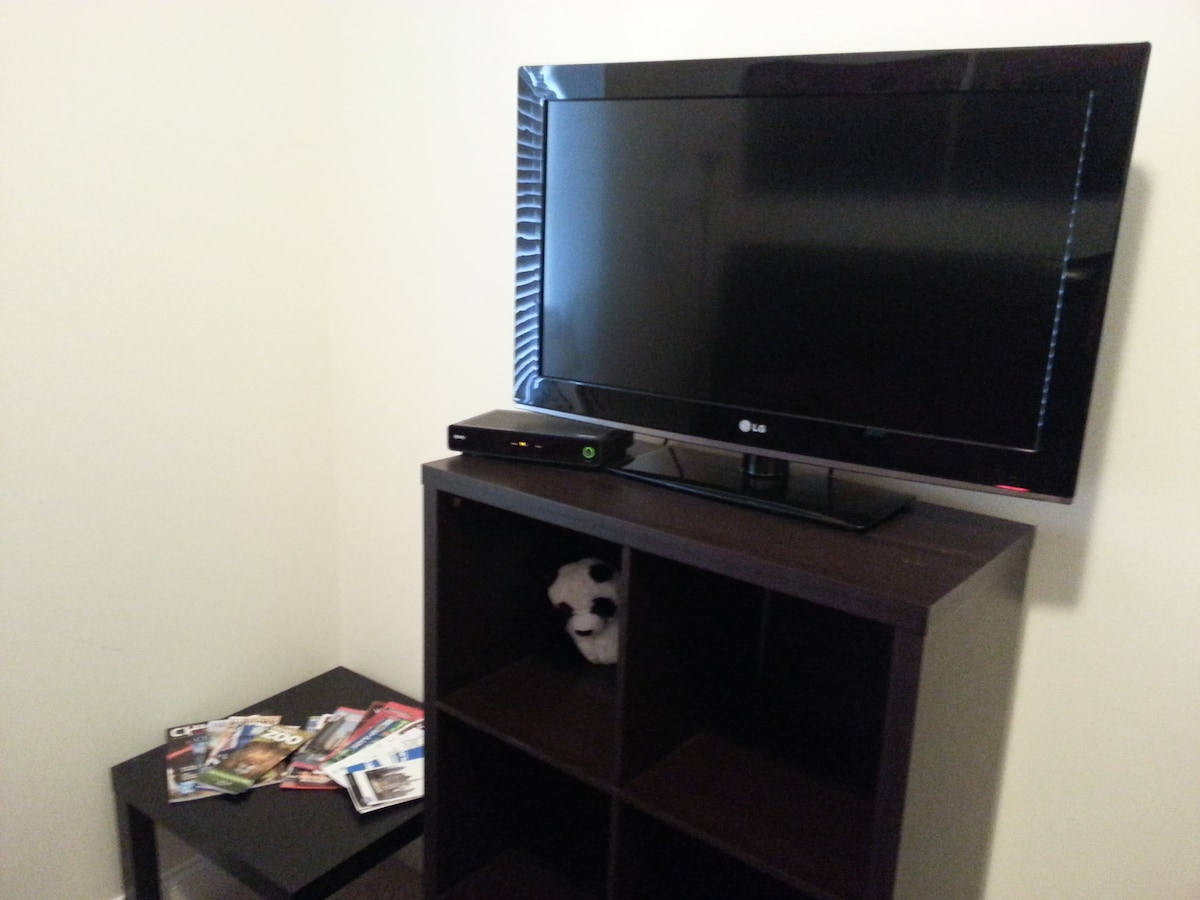 Your very own BIG SCREEN TV with CABLE.. . WOW ... You'll NEVER be bored at night!