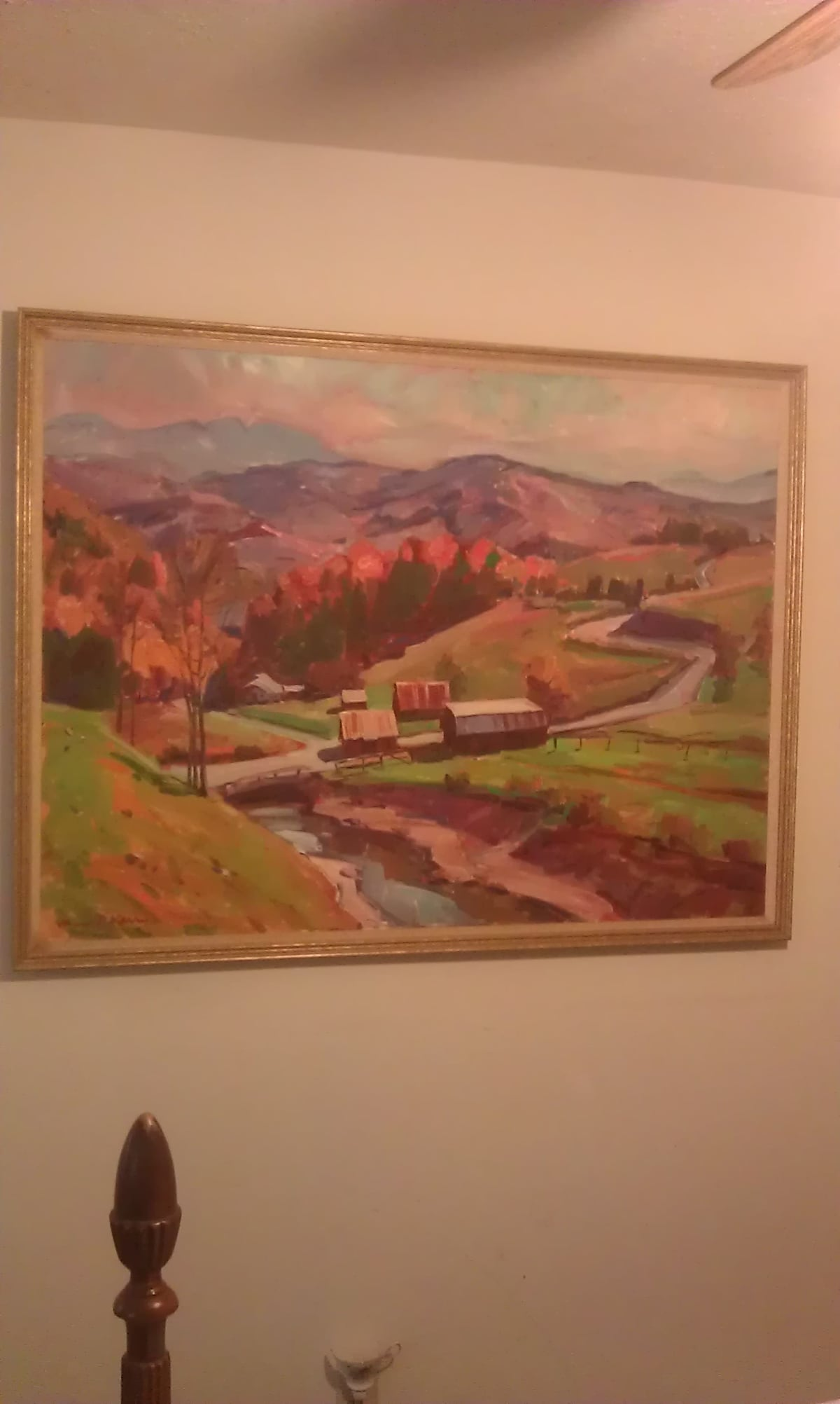 Framed original art by Boone artist, James Kerr -- the Mast Valley between Boone and Grandfather Mountain, NC