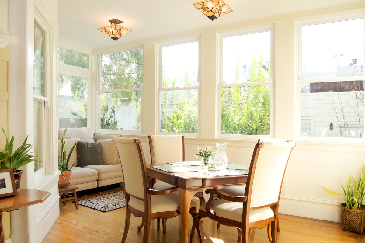 Enjoy breakfast in the sunporch, overlooking several lush gardens...