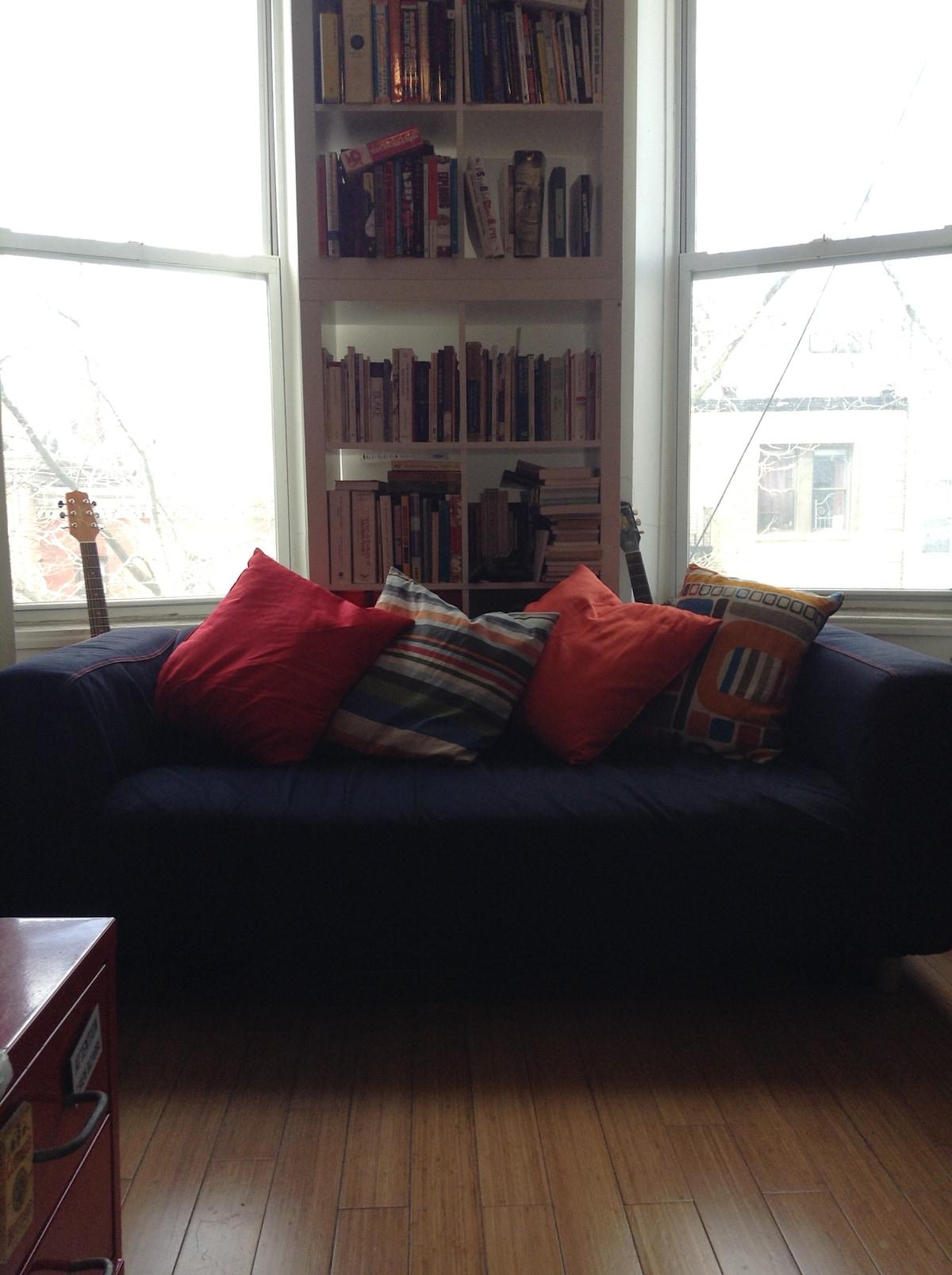 Large living room near train