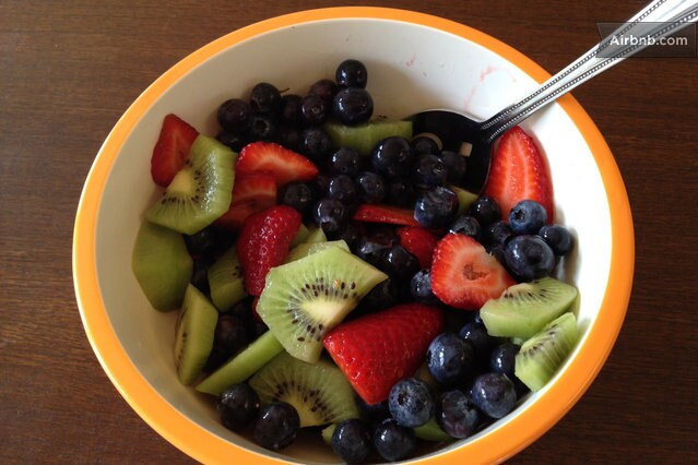 Fresh fruit salad, yum!