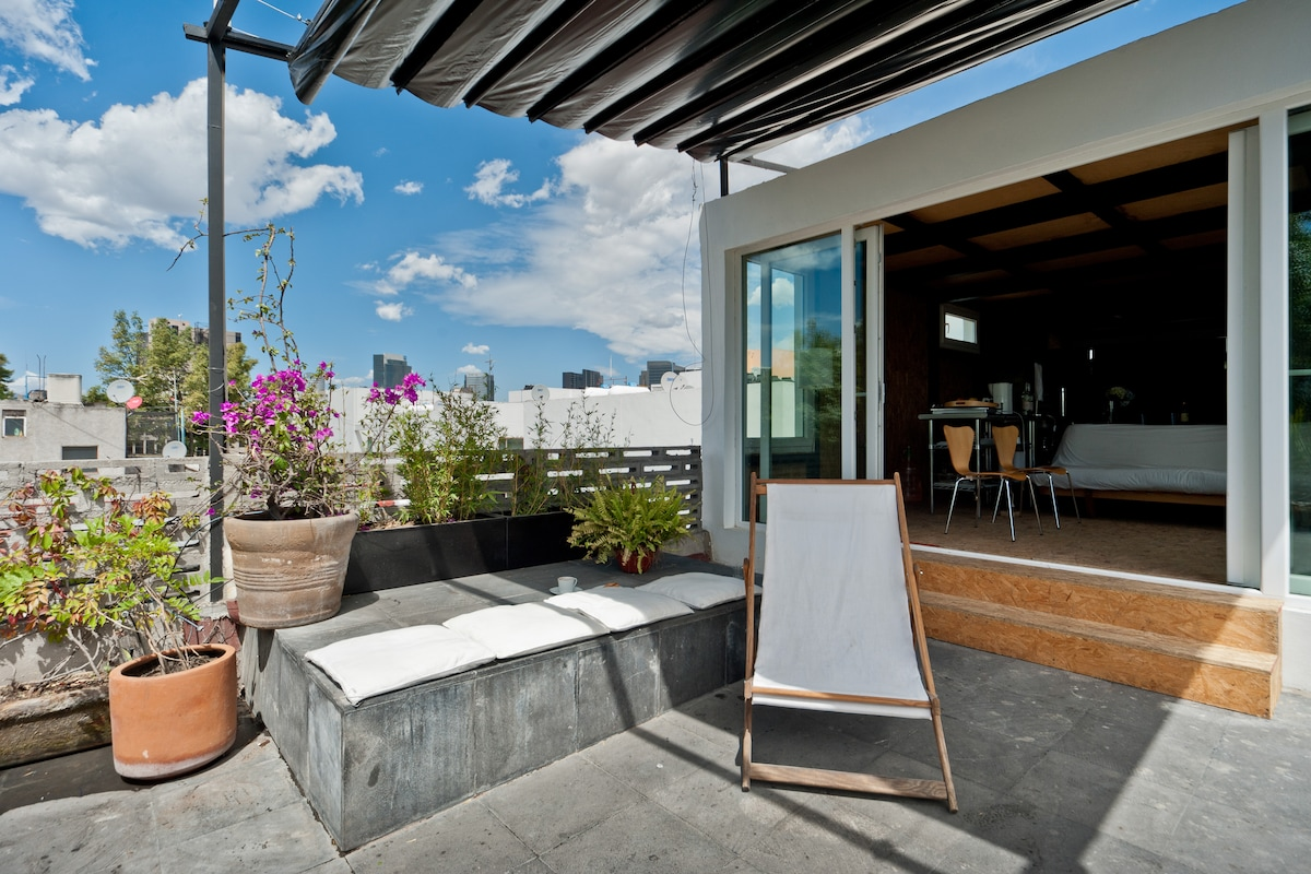 sunny terrace with great view