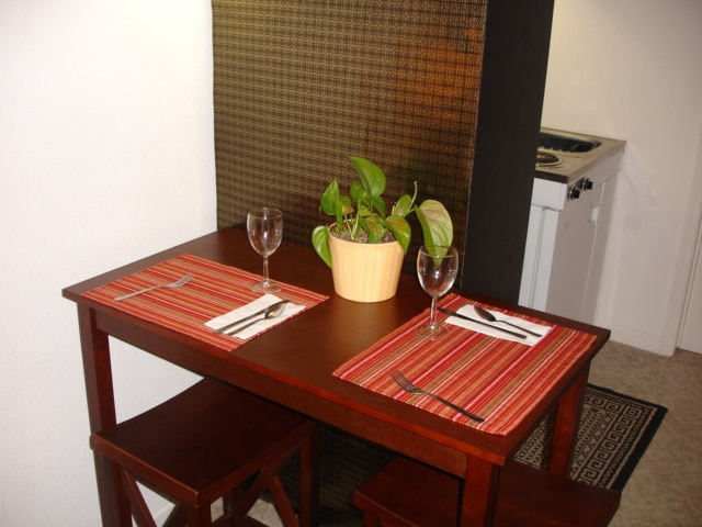 A bistro table to enjoy meals and snacks.