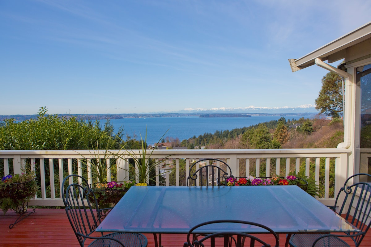 A straight on view of the deck, looking out towards the Puget Sound, Vashon Island, Blake Island State Park, and the Olympic Mountains.