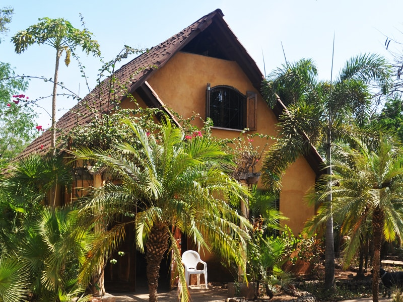 The front house is visible from the main road in Playa Negra. The grounds are meticuolosly maintained