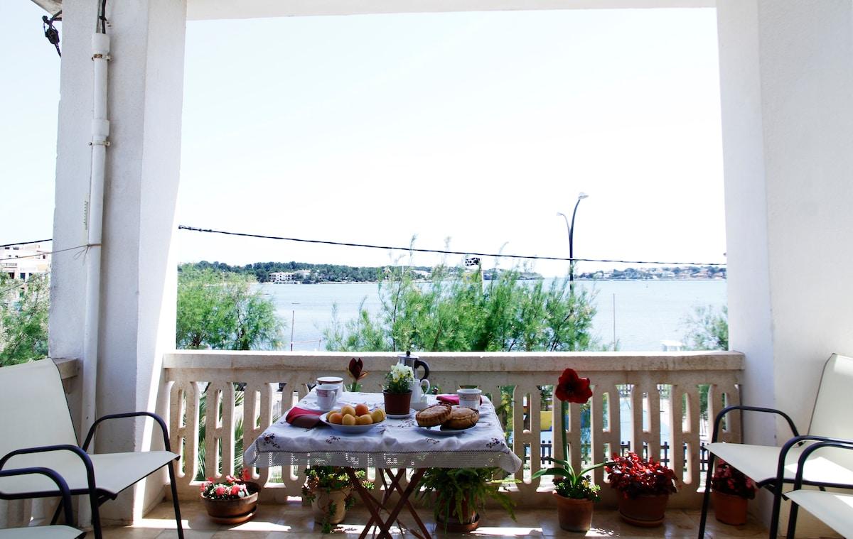 Having breakfast on the terrace