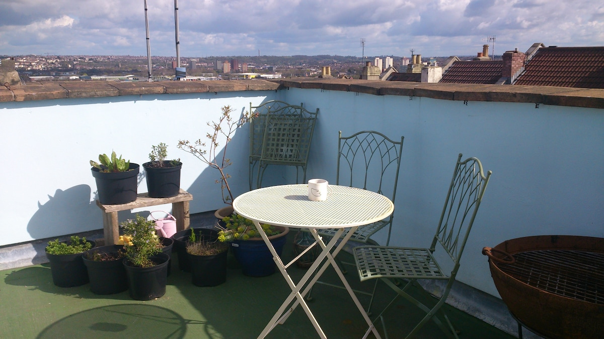 terrace that leads from your bed space with bristol and beyond view