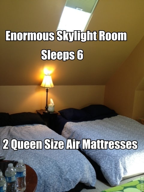 King, Queen and Queen size air mattress can sleep up to 6.