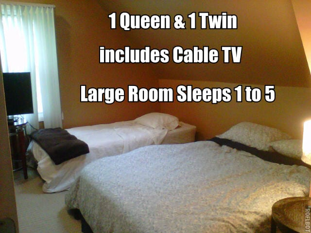 King, Queen and Twin sleeps up to 5 or...