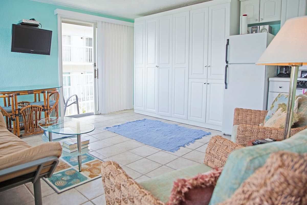 The inside facing South West, view from the bathroom door.  Full size murphy bed (folds out) is in the white cabinet.