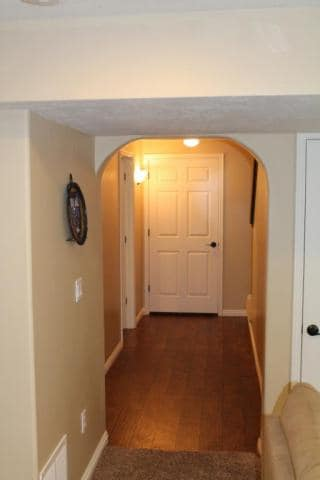 The hall that leads to the TV room