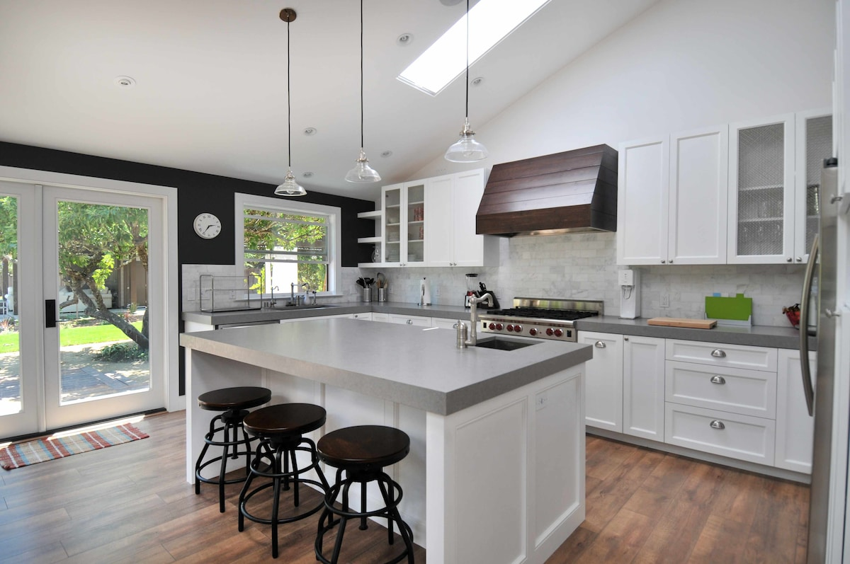 Truly gourmet kitchen with Wolf appliances and Caesar stone countertops.