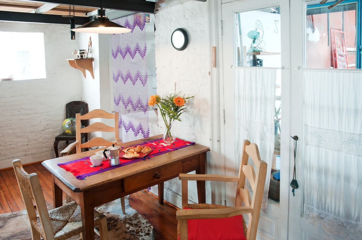 Cozy dining space and we do our best to provide you with all the kitchen utensils you might need.