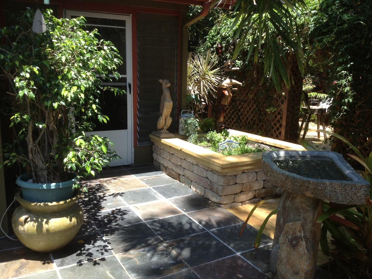 View toward Florida room with fresh herb garden.