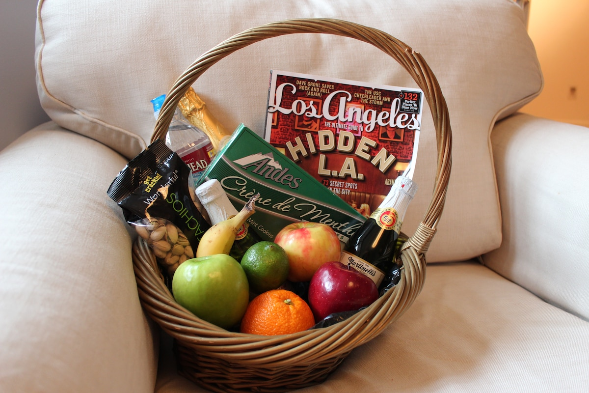 A welcome basket in your room