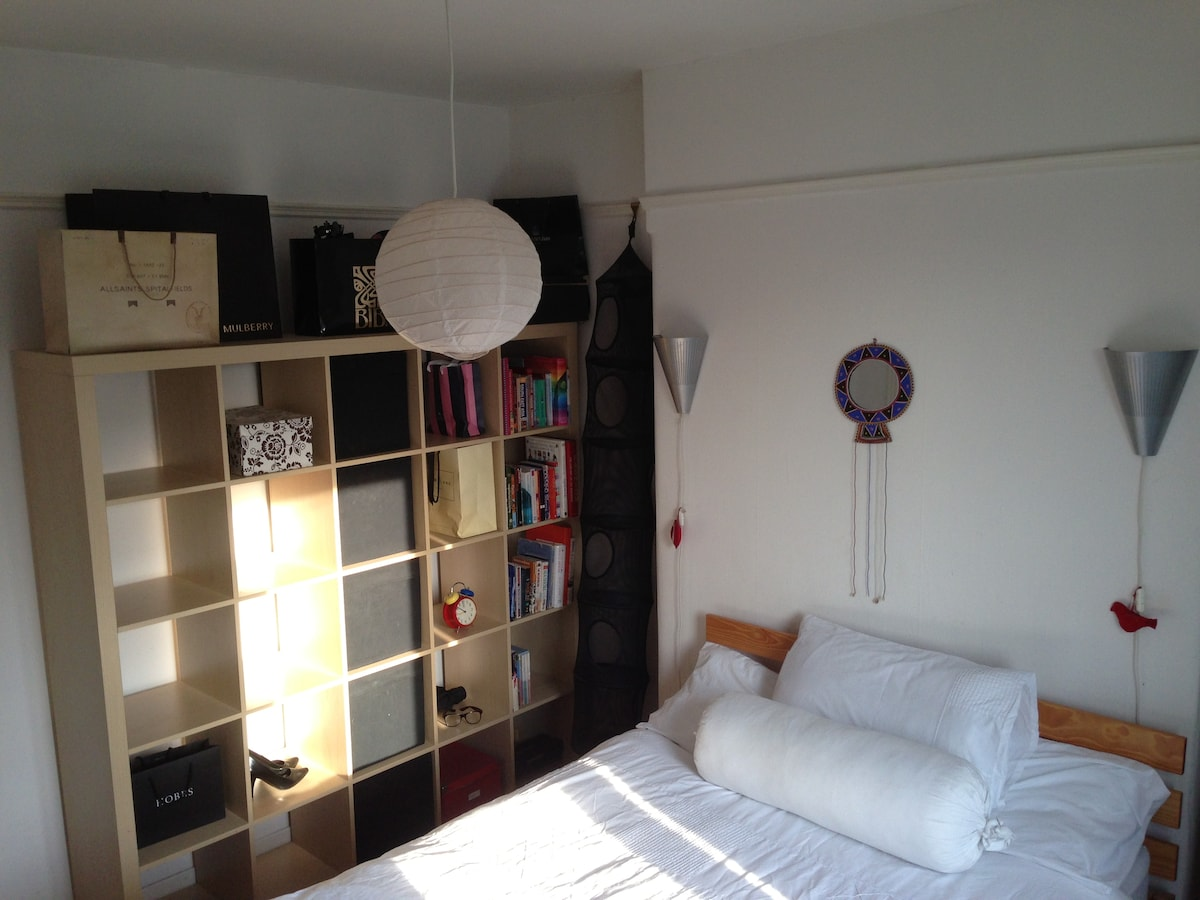 Fresh & Clean double bedroom with storage, internet access, mirror, hairdryer bedside light, radiator and clean towels.