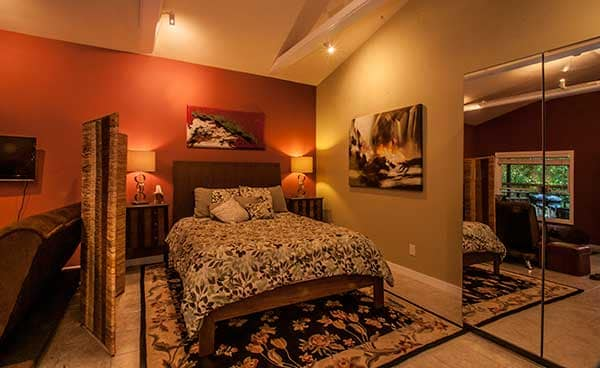 Queen size bed, plush comforter, blankets and plenty of pillows for bedside reading,  mirrored closet
