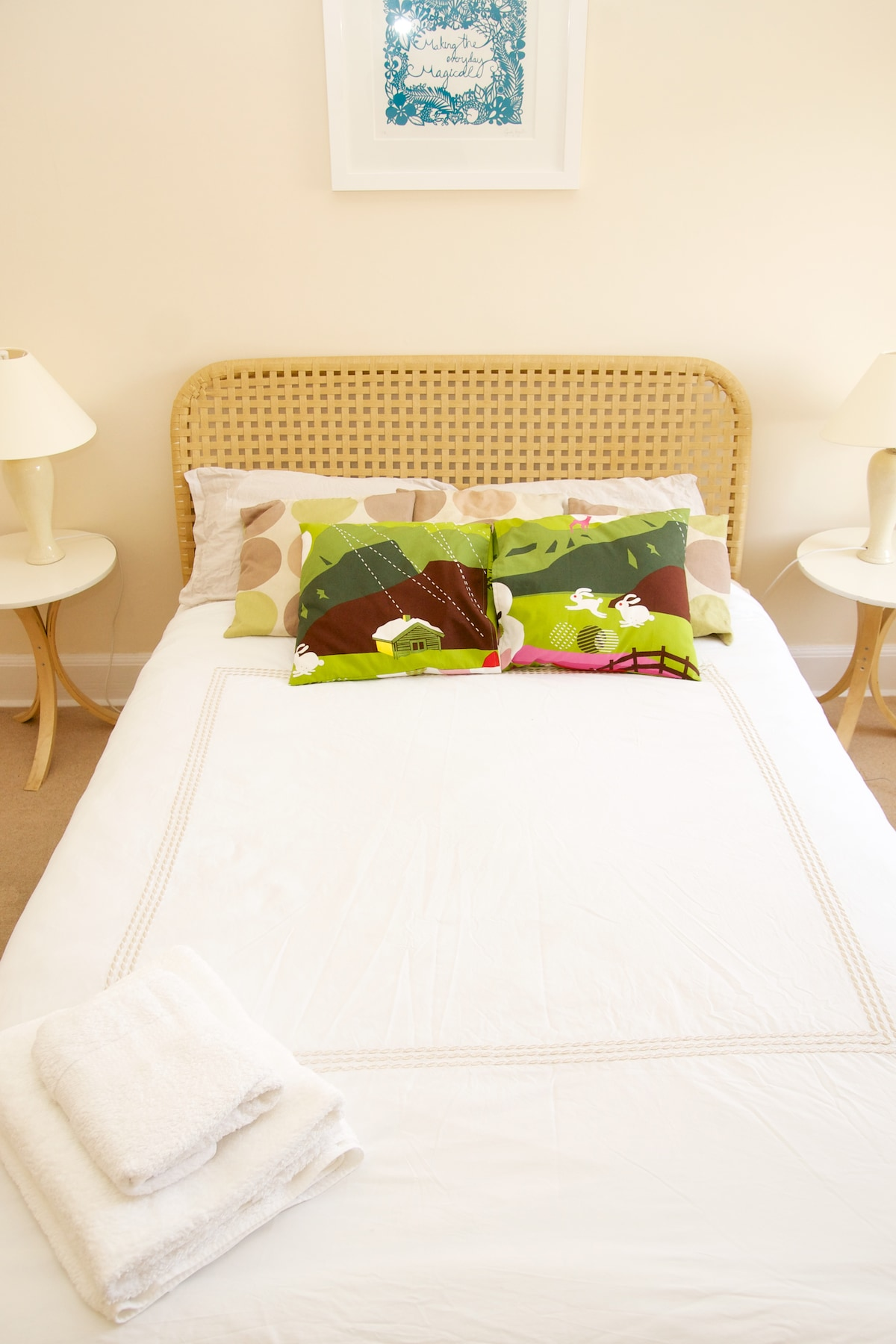 Your lovely double bedroom- a super comfy bed, with towels, extra pillows and blankets if you need them.
