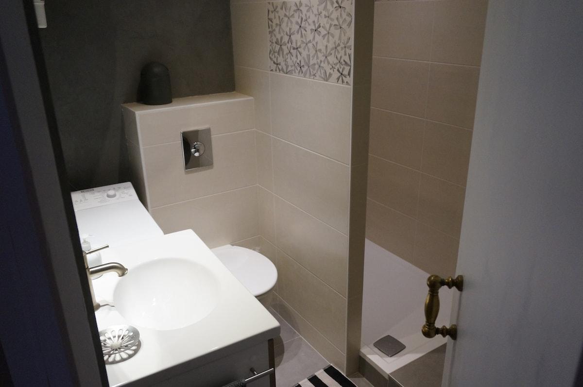 Grande douche (120x80), WC suspendu, lave linge.