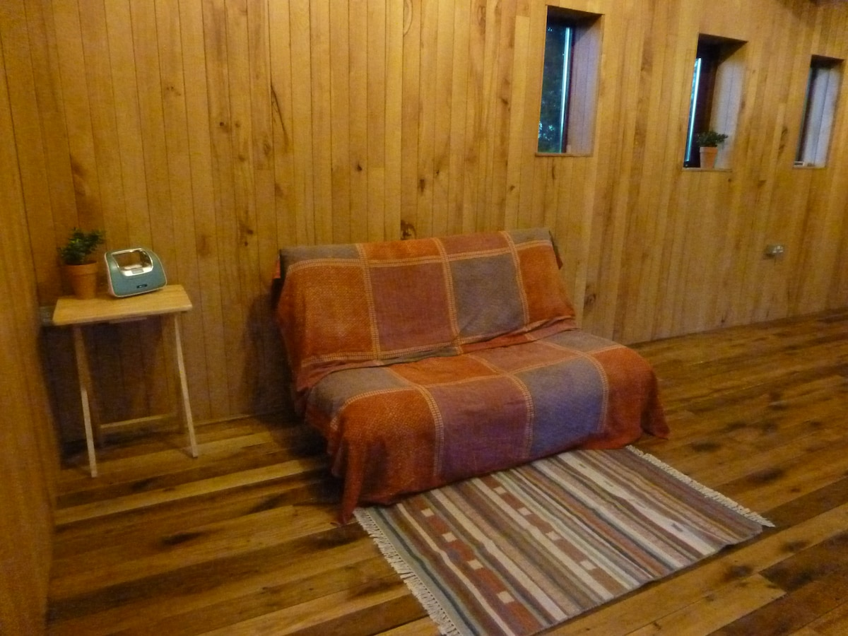 futon sofa on ground floor.